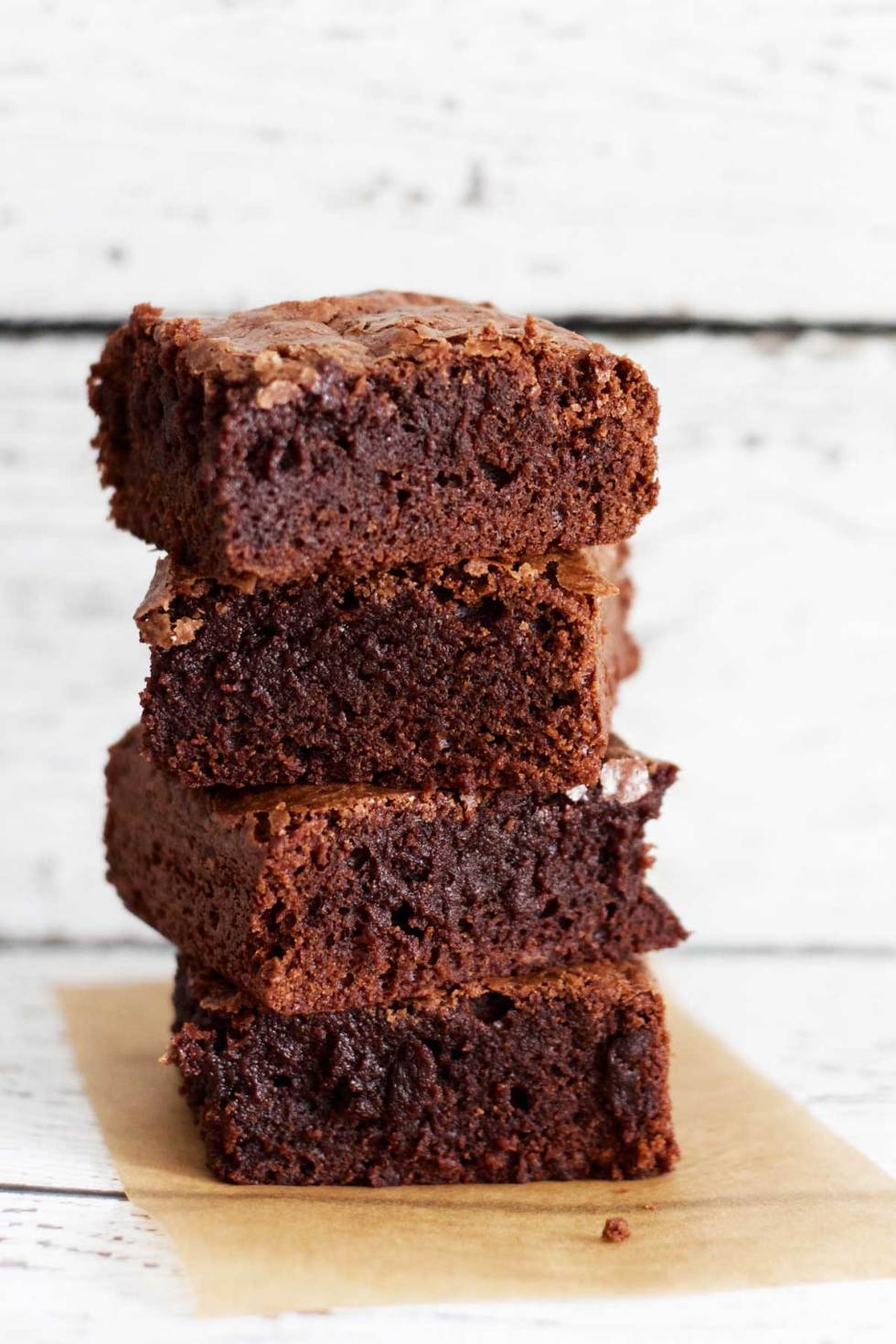 Simply Fudgy Brownies - These brownies are rich, dense, and fudgy with a slight crunch from the top and edges, but the inside is soft, dark, and baked-until-just-barely set.