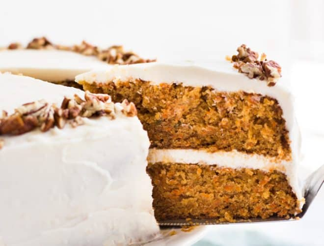 Classic Carrot Layer Cake with Cream Cheese Frosting   Spoonful of     Classic Carrot Layer Cake with Cream Cheese Frosting is moist  flavorful  and garnished with chopped