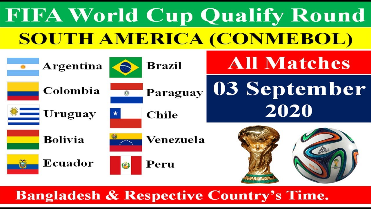All Matches of 03 September 2020 of South American Qualify Round for FIFA World Cup, Qatar-2022.