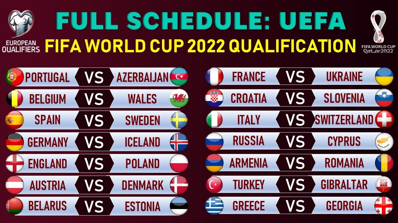 Match Schedule: FIFA World Cup 2022 European Qualifiers - Group Stage Fixtures