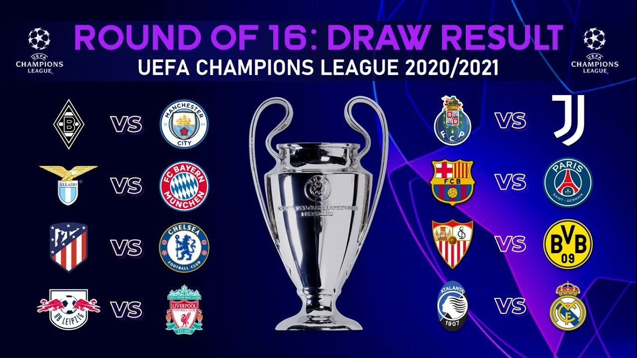UEFA CHAMPIONS LEAGUE 2020/21 ROUND OF 16 DRAW RESULT - JunGSa Football