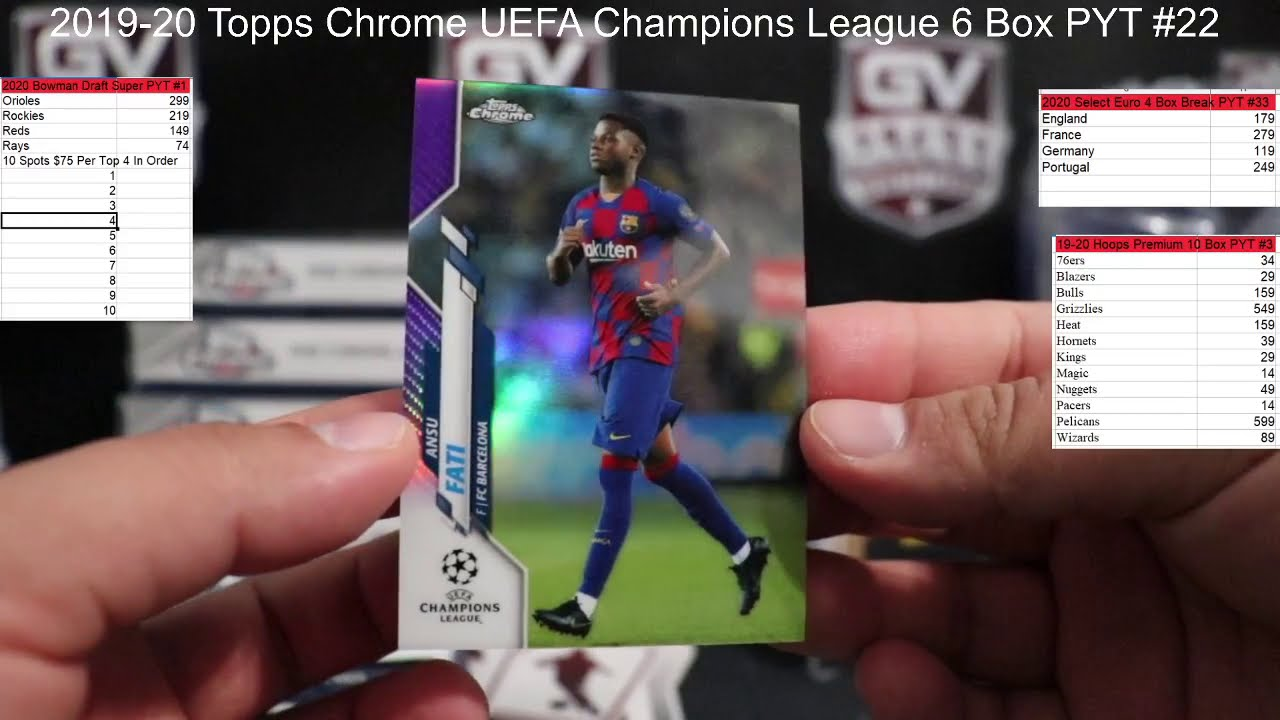 2019/20 Topps UEFA Champions League Chrome Soccer Hobby 6 Box PYT #22