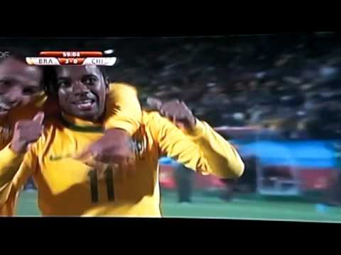 FIFA World Cup 2010 Brazil vs. Chile - Goal for 3:0 [59'] by Robinho! HQ!