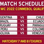 FIFA World Cup 2022 Conmebol Qualifiers Schedule - Matchday 7 & 8 Fixtures