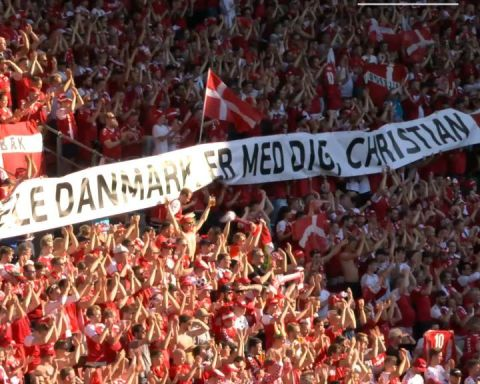 Denmark and Belgium unite to show their support for Christian Eriksen....
