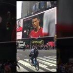(Times Sq. NYC)Cristiano Ronaldo 's history free kick goal against Spain in Fifa World Cup 2018 #cr7