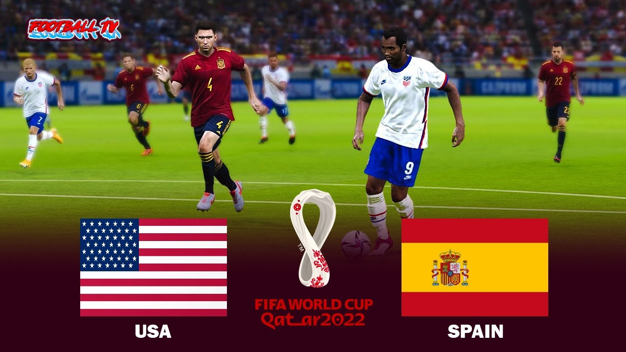 USA vs SPAIN - FIFA World Cup 2022 - Full Match All Goals - eFootball PES 2021 Gameplay
