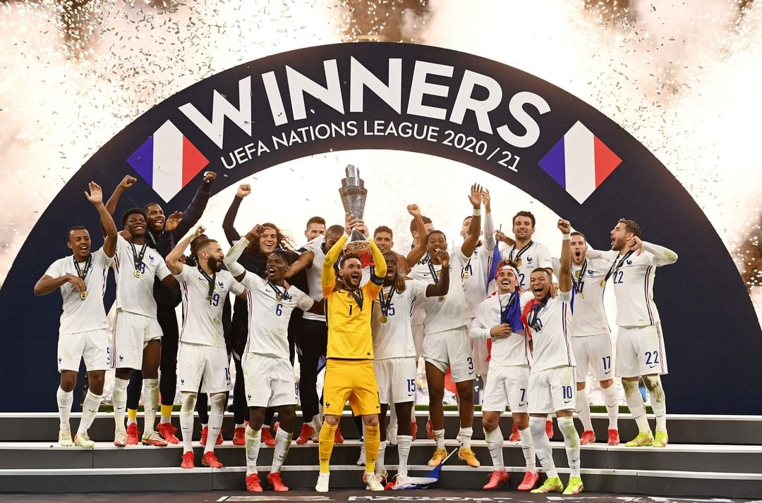 France become the first team to win the World Cup, the EUROs and the Nations Le...
