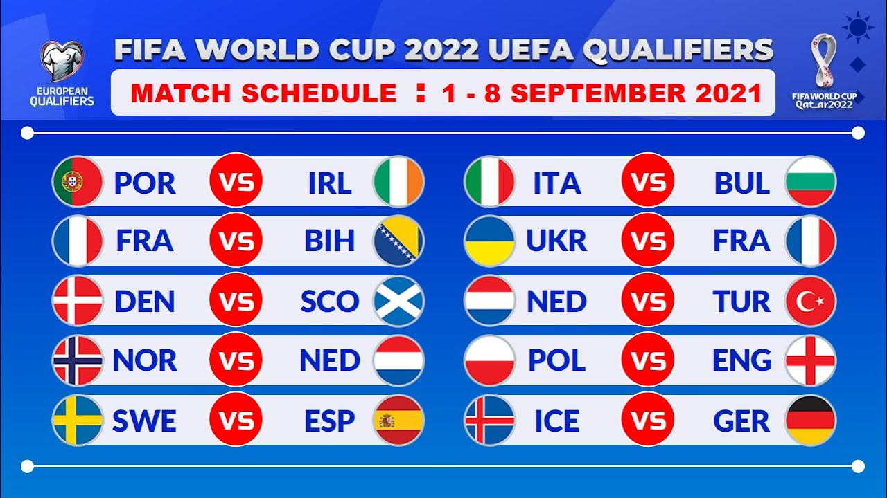 MATCH SCHEDULE: UEFA QUALIFIERS FOR FIFA WORLD CUP 2022 (MATCHDAY 4-6)
