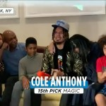 An emotional  reacts to being drafted into the NBA by the  at 15!...