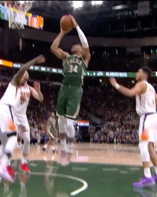 Giannis hustles for second chance buckets! ...