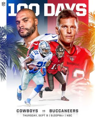 100 DAYS until the biggest season EVER!  : NFL Kickoff 2021 -- Sept. 9 at 8:20pm...
