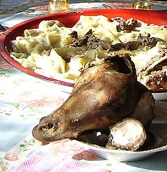 Kyrgyz aren't really very big into people whipping out camera's all the time, so it would have been really rude of me to take a photo of my dining experience. But this photo is from Wikipedia: