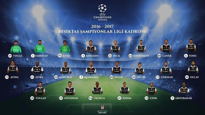 Beşiktaş şampiyonlar ligi kadrosu.