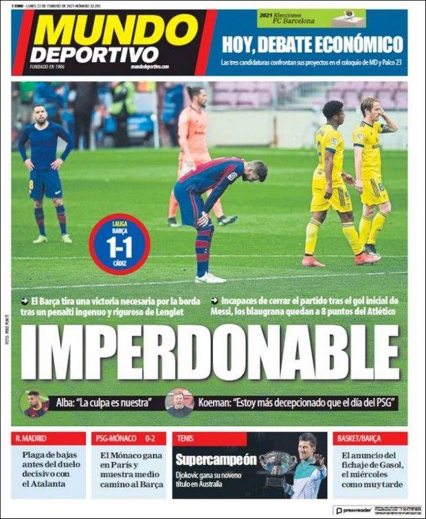 Το πρωτοσέλιδο της Mundo Deportivo για την ισοπαλία 1-1 της Μπαρτσελόνα με την Κάντιθ