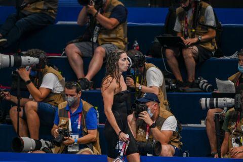 Η Άννα Ντουντουνάκη μετά την προσπάθειά της στους Ολυμπιακούς Αγώνες