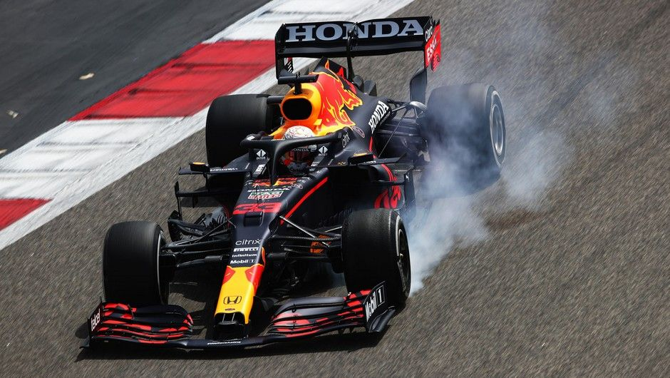 BAHRAIN, BAHRAIN - MARCH 12: Max Verstappen of the Netherlands driving the (33) Red Bull Racing RB16B Honda locks up during Day One of F1 Testing at Bahrain International Circuit on March 12, 2021 in Bahrain, Bahrain. (Photo by Joe Portlock/Getty Images)