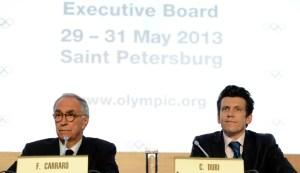 La conferenza stampa in cui Carraro annuncia gli sport che lotteranno per un posto nel programma Olimpico dei Gochi 2020