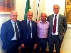 Da sinistra, Roberto Fabbricini, Renato Di Rocco, Paolo Bettini e Giovanni Malagò