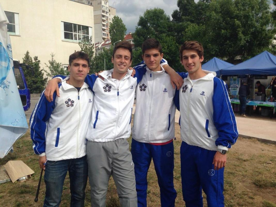 La squadra azzurra impegnata nel concorso a squadre agli Europei Juniores di Pentathlon