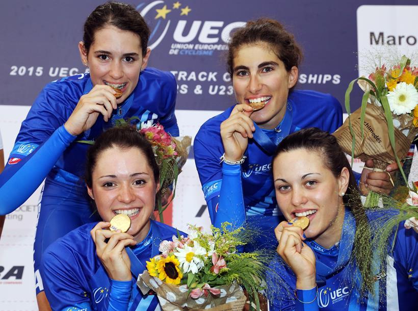 Europei Pista Jrs e U23, Elisa Balsamo, Rachele Barbieri, Sofia Bertizzolo, Marta Cavalli