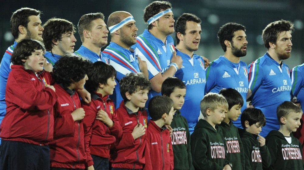 RBS Under-20 Six Nations Championship, Stadio Quercia, Italy 20/3/2015 Italy U20s vs Wales U20s The Italian team stand for the National Anthem Mandatory Credit ©INPHO/Emanuele Pennacchio