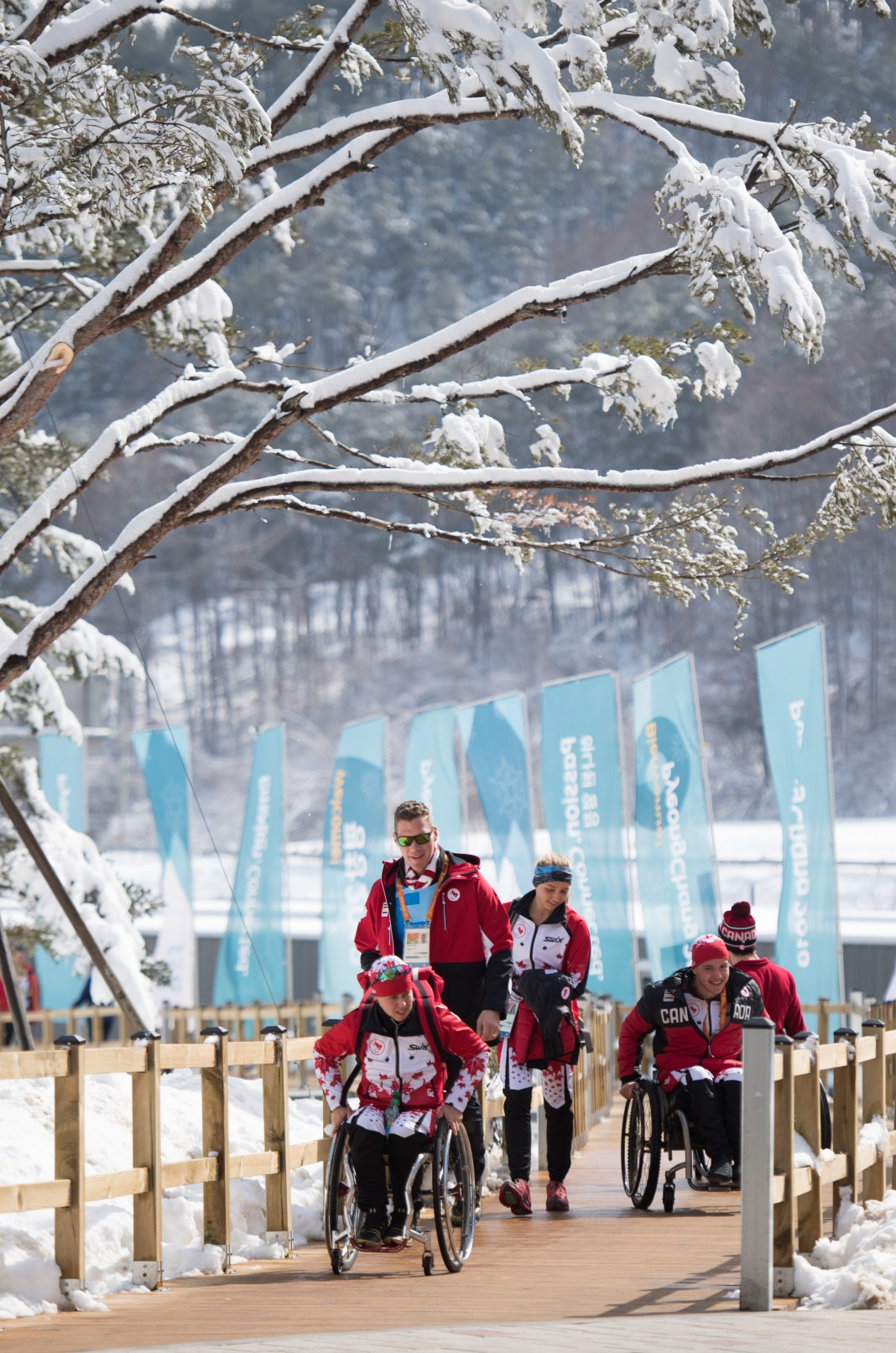 Cindy Oullet CAN, Natalie Wilkie CAN and Ethan Hess CAN arrive at the Paralympic Village. The Paralympic Winter Games, PyeongChang, South Korea, Tuesday 6th March 2018. Photo: Joel Marklund for OIS/IOC. Handout image supplied by OIS/IOC