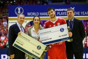 Auszeichnung Welthandballer des Jahres 2013 für Andrea Lekic und Domagoj Duvnjak am 26. Januar 2014 in Herning - Foto: Uros Hocevar / EHF