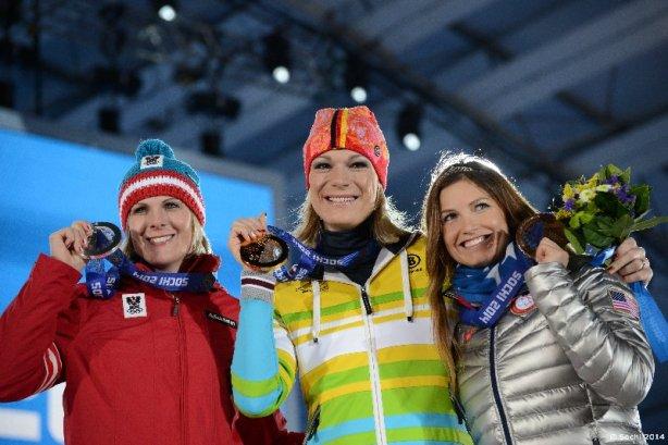 Sotchi 2014: Alpine Super-Kombination - Maria HÖFL-RIESCH (GER), Nicole HOSP (AUT), Julia MANCUSO (USA) - Foto: Sochi 2014 Olympic Winter Games