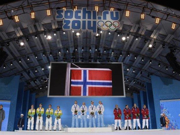 Sotchi 2014: Nordische Kombination Team Siegerehrung - Foto: Sochi 2014 Olympic Winter Games