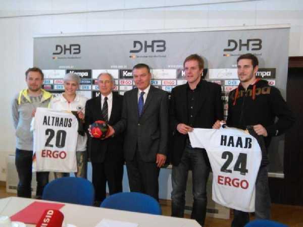 DHB: Pressegespräch am 14. Mai 2014 in Magdeburg - (v.l.) Heine Jensen, Anja Althaus, Bernhard Bauer, Holger Stahlknecht, Martin Heuberger, Michael Haaß - Foto: SPORT4Final
