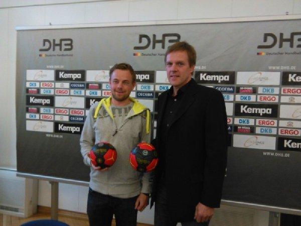 DHB: Pressegespräch am 14. Mai 2014 in Magdeburg - (v.l.) Die Bundestrainer Heine Jensen und Martin Heuberger - Foto: SPORT4Final