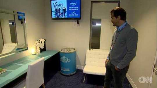 "Blick in Roger Federers Umkleidekabine - Quelle: CNN International ""Open Court"""