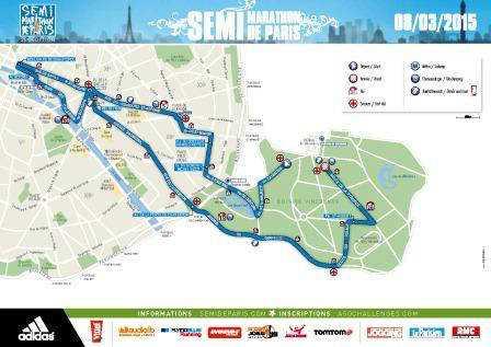 Paris-Halbmarathon 2015: Moses Mosop ist der größte Favorit - Streckenplan - Foto: ASO