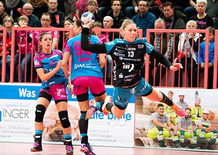 Handball EHF-Cup, TuS Metzingen vs. HC Leipzig am 19.02.2016 in Tübingen - Luisa Schulze (13) - Foto: Sebastian Brauner
