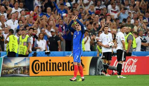 Antoine Griezmann (Frankreich) – Fussball EM 2016: UEFA EURO Halbfinalspiel zwischen Deutschland und Frankreich im Stade Velodrome am 7. Juli 2016 in Marseille, Frankreich. Foto: Matthias Hangst / Getty Images