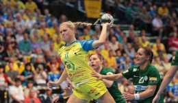 HC Leipzig bei HSG Blomberg-Lippe. Anne Hubinger im Kader