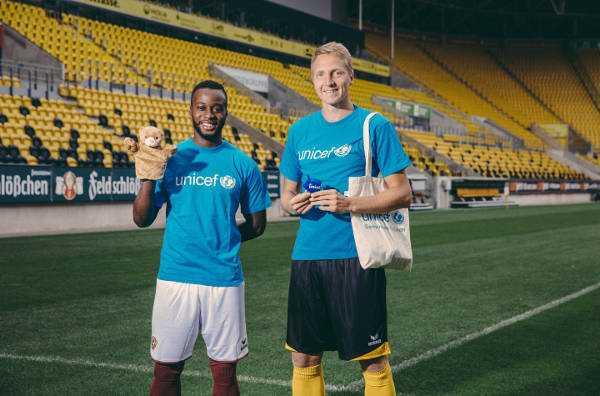 Erich Berko und Marco Hartmann - Dynamo Dresden Schirmherrin des UNICEF-Spendenlaufs - Foto: Dynamo Dresden