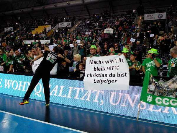 SC DHfK Leipzig schlug GWD Minden glücklich. Christian Prokop emotional im Fan-Fokus - Foto: SPORT4FINAL