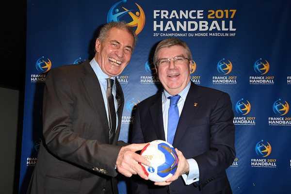 IHF-Präsident Dr. Hassan Moustafa und IOC-Präsident Dr. Thomas Bach - Handball WM 2017: Frankreich mit sechstem Weltmeister-Stern - Foto: France Handball