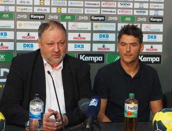 """Handball: DHB-Präsident Andreas Michelmann und Bundestrainer Christian Prokop (v. l.) - Christian Prokop """"Bundestrainer ist riesige Ehre und Herausforderung"""" - Foto: SC DHfK Leipzig"""
