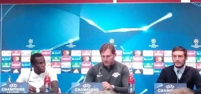 Bruma und Ralph Hasenhüttl - RB Leipzig vs. FC Porto - Fußball UEFA Champions League - Pressekonferenz vor dem Match - Foto: SPORT4FINAL