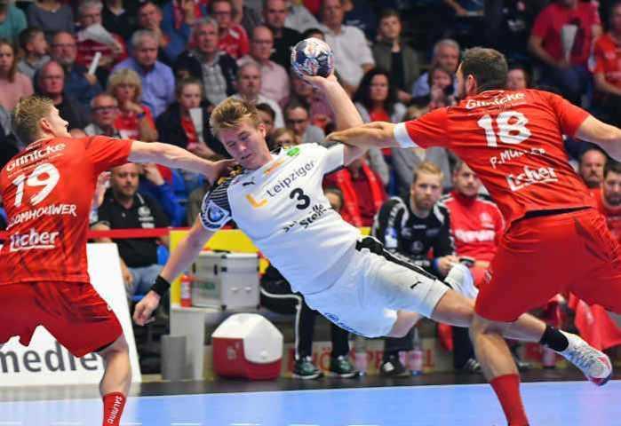 Franz Semper - SC DHfK Leipzig bei MT Melsungen im Handball DHB-Pokal - Foto: Rainer Justen
