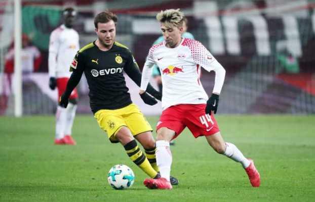 Fußball Bundesliga, RasenBallsport Leipzig vs. Borussia Dortmund - Mario Götze (Dortmund) und Kevin Kampl (RB Leipzig) – Foto: GEPA pictures/Kerstin Kummer