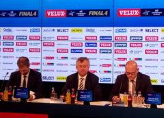 David Szlezak (EHF Marketing), Michael Wiederer (EHF-Präsident), Markus Hausleitner (EHF-Generalsekretär - v.l.) - Pressekonferenz am 27. Mai 2018 in Köln - EHF FINAL4 - Handball Champions League - Foto: SPORT4FINAL