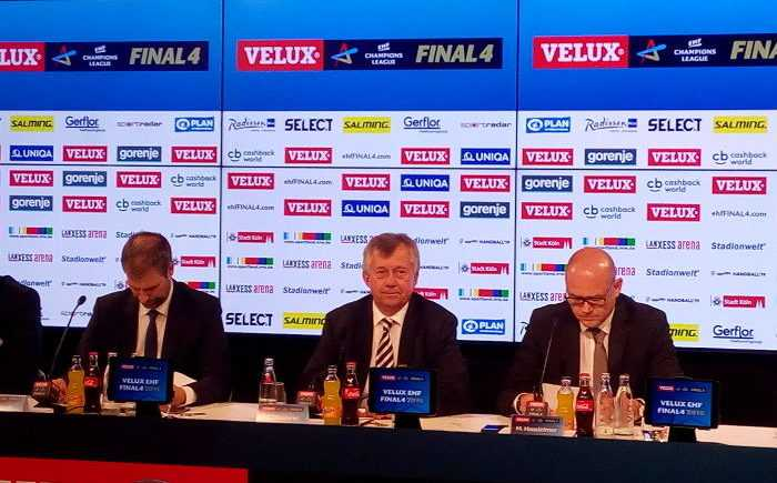 David Szlezak (EHF Marketing), Michael Wiederer (EHF-Präsident), Markus Hausleitner (EHF-Generalsekretär - v.l.) - Pressekonferenz am 27. Mai 2018 in Köln - EHF FINAL4 - Handball Champions League - Foto: SPORT4FINAL
