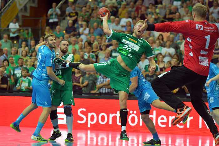 SC DHfK Leipzig vs. TVB 1898 Stuttgart. Philipp Weber. Handball Bundesliga. Arena Leipzig. 23. August 2018. Foto: Rainer Justen