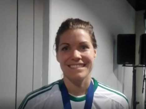 Handball DELO Frauen EHF Champions League Final4 Budapest 2019: MVP Kari Aalvik Grimsbö (Györi Audi ETO KC) im SPORT4FINAL-Interview