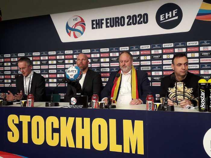 Handball EM 2020 - DHB Abschluss Pressekonferenz am 25. Januar 2020 in der Tele 2 Arena Stockholm - Bob Hanning, Andreas Michelmann, Axel Kromer, Tim Oliver Kalle (v.r.) - Copyright: SPORT4FINAL