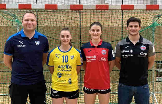 HCL Trainer Fabian Kunze, HCL Spielerin Emely Theilig, Tyra Bessert, THC Trainer Goncalo Miranda - Foto: Thüringer HC